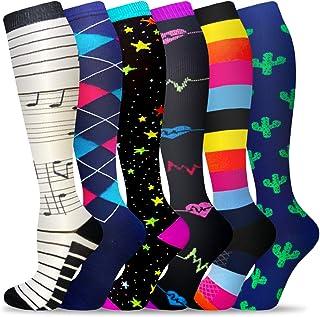 6 Pairs Compression Socks for Women & Men Circulation,20-30 mmhg Nursing Socks Best for Running,Athletic,Hiking,Travel(Sma...