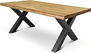 COMIFORT Mesa de Comedor - Mueble para Salon Oficina Despacho Robusto y Moderno de Roble Macizo Color Ahumado con Lado Ondulado, Patas de Acero X-Forma Grafito (180x90 cm)