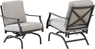 "Amazon Brand - Ravenna Home Archer Steel-Framed Outdoor Patio Deep-Seat Chairs, Set of 2, 31""W, Gray"