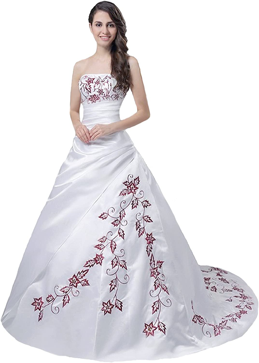 Faironly M56 Red Embroidery overseas Dress Wedding Ranking TOP8 White