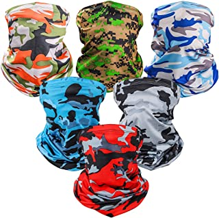 6 Pieces Sun UV Protection Face Mask Neck Gaiter Windproof Scarf Sunscreen Breathable Bandana Balaclava for Outdoor use