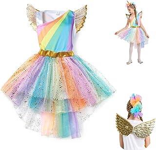 Unicorn Tulle Tutu Dress Princess Dressing Up Costume with Unicorn Headband and Wing for Girls
