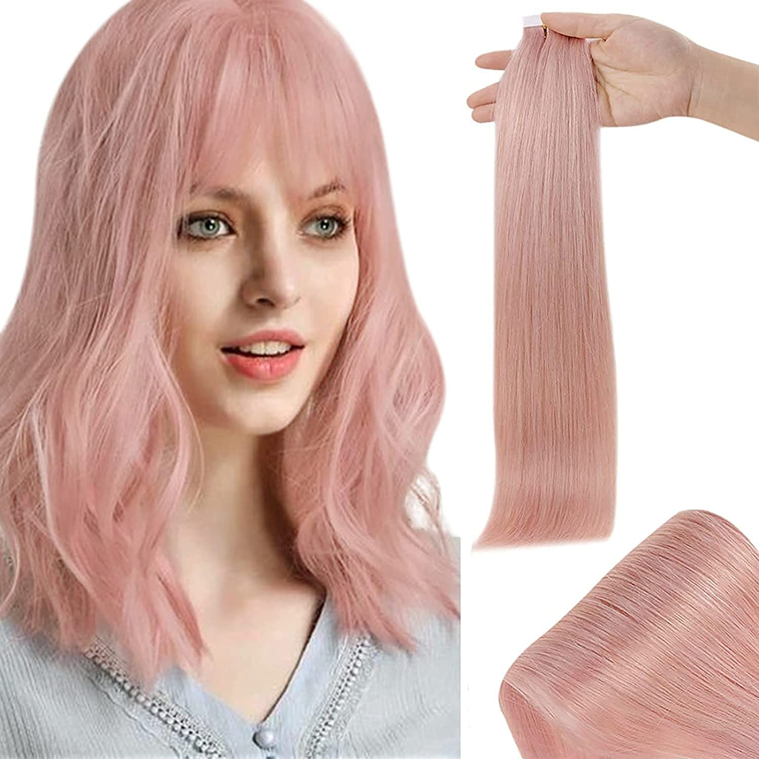 RUNATURE Light unisex Dealing full price reduction Pink Tape in Hair Extensions 18 Skin Weft Ha Inch