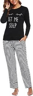 Womens Long Sleeve Pajamas Set Striped Top and Pants Soft Pjs Sets Sleepwear