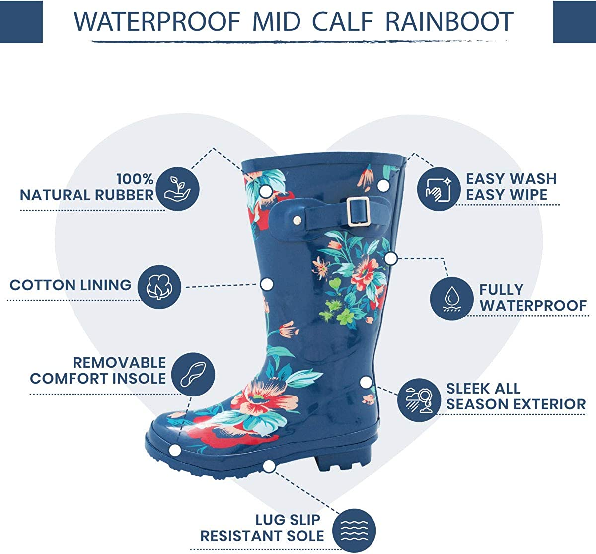 Solids and Prints NORTY Womens Hurricane Wellie Glossy /& Matte Waterproof Mid-Calf Rainboots