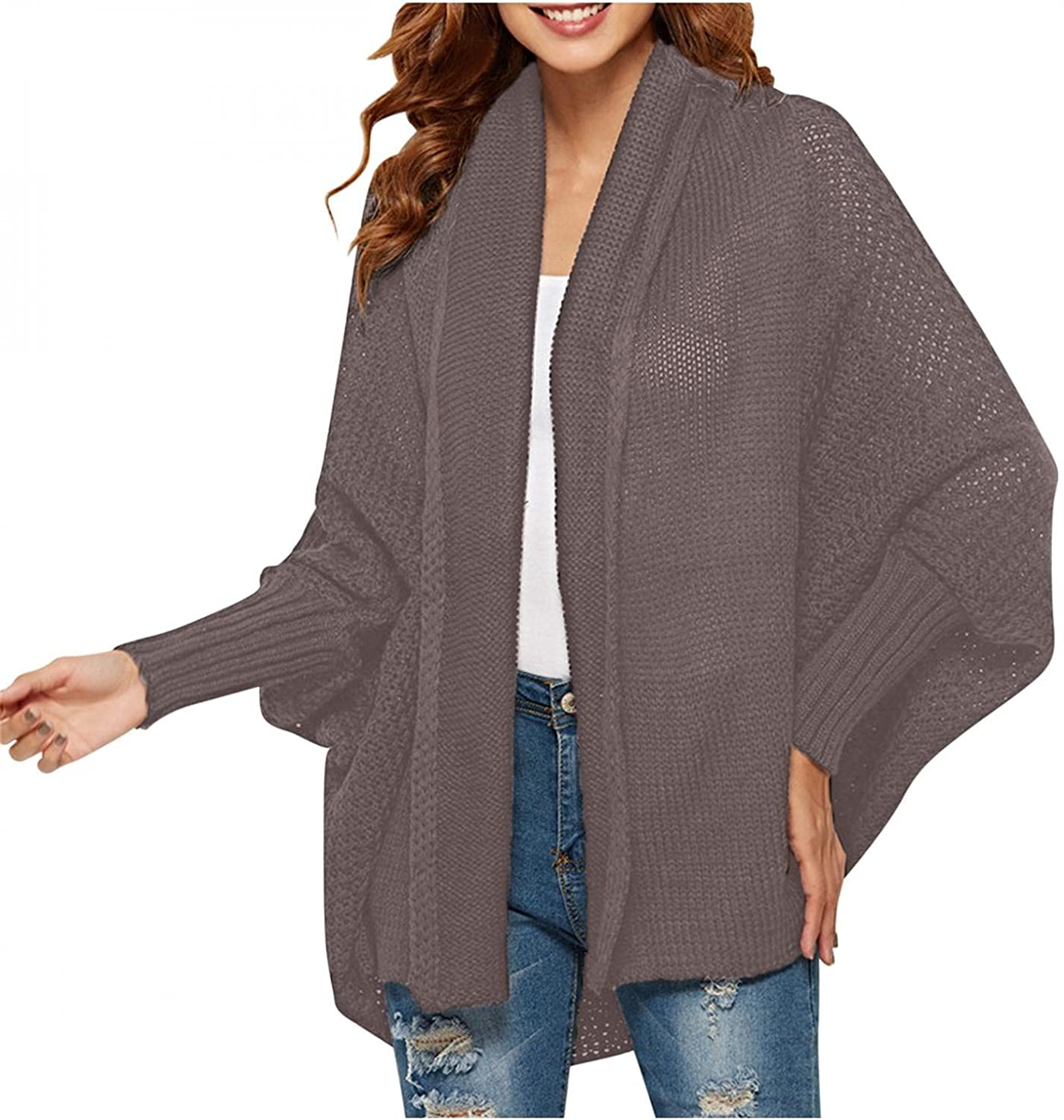 RNTOP Cardigan Sweaters for Women Lightweight, Kimono Batwing Sleeve Cable Knitted Slouchy Oversize Wrap Cardigan Sweater