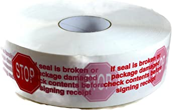 SP Tape Printed White Carton Sealing Tape with Red Lettering - Stop If Seal is Broken - 3 x 1000 yds (1 Roll)