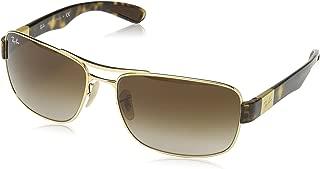 Ray-Ban Men's RB3522 Square Metal Sunglasses, Arista/Brown Gradient, 61 mm