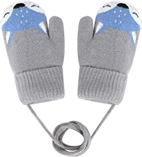 Baby Mittens Warm Mitts Infant Full Finger Gloves Magic Snow Mittens on String