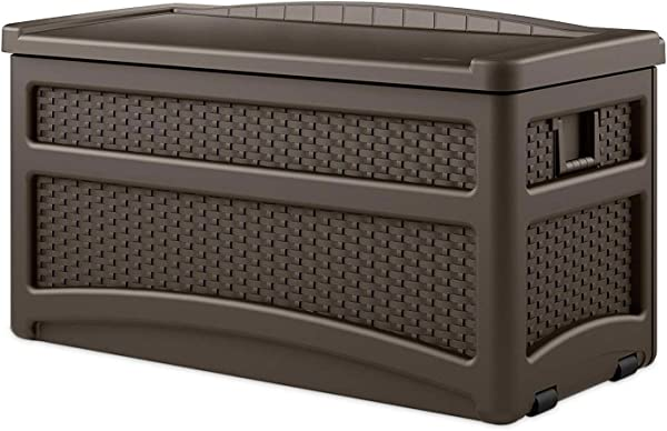 Suncast 73 Gallon Resin Wicker Patio Storage Box With Wheels Water Resistant Outdoor Storage Container For Toys Furniture Yard Tools Store Items On Deck Porch Yard Brown
