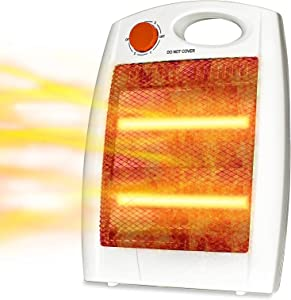Portable Infrared Quartz Heater - Electric Space Heaters, Personal Room Heater Infrared, Tip-Over and Overheat Protection, Quiet and Light for Office, Bedroom and Indoor Use