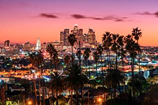 Los Angeles California Skyline at Sunset Photo Art Print Cool Huge Large Giant Poster Art 54x36
