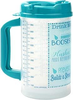 Drink Water Tracking Hospital Mug for Daily Intake Measuring - 3 Straws, 32 oz Teal Swivel Lid