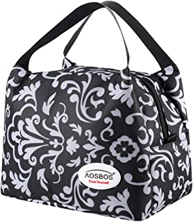 Aosbos Insulated Lunch Bag for Women Lunchbox Tote Food Cooler Box Men (Pure Floral)