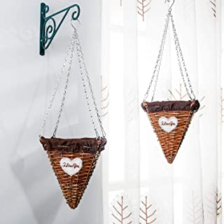 wicker cone shaped hanging baskets
