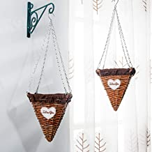Set of 2 Wicker Cone Hanging Planters, Hanging Basket for Plants and Flowers
