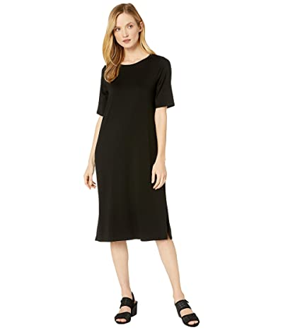 Eileen Fisher Fine Tencel Jersey Round Neck Short Sleeve Dress with Side Slits (Black) Women
