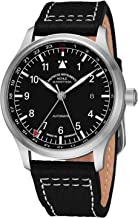 Muhle Glashutte Terrasport IV GMT Mens Automatic Pilot Watch - 42mm Black Face with Luminous Hands and Sapphire Crystal - Black Leather Band Precision Watch Made in Germany M1-37-94 LB
