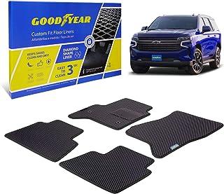 Goodyear Custom Fit Car Floor Liners for Chevrolet Tahoe 2015-2020, Black/Black 4 Pc. Set, All-Weather Diamond Shape Liner...