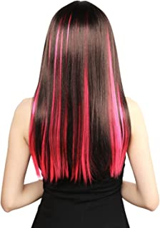 Neitsi 10pcs 18inch Colored Highlight Synthetic Clip on in Hair Extensions #F24 Pink
