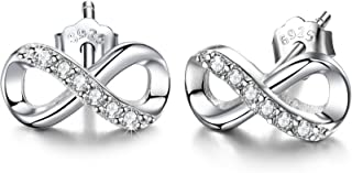 F.ZENI Infinity Earrings 925 Sterling Silver Studs Round Cut CZ Forever Love Accent Fashion Jewelry for Women Girls with Gift Box