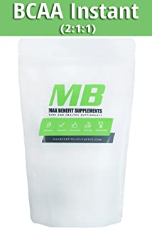 MaxbenefitSupplements 100% Pure BCAA Instant 2:1:1 - Pre/Post Workout Bodybuilding Supplement to Boost Muscle Growth 500gm - 300 Servings
