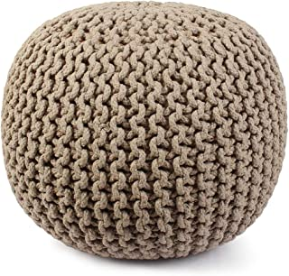Hand Knitted Cable Style Dori Pouf - Floor Ottoman - 100% Cotton Braid Cord - Handmade & Hand Stitched - Truly one of a Kind Seating - 20 Dia x 14 High (Beige)