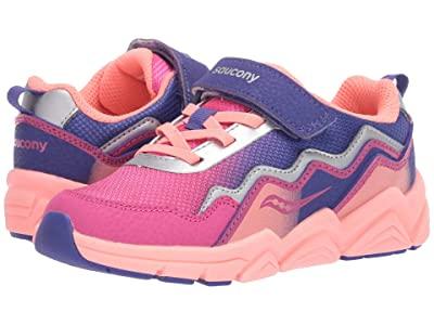 Saucony Kids S-Flash A/C 2.0 (Little Kid/Big Kid) (Pink/Purple Leather/Mesh) Girls Shoes