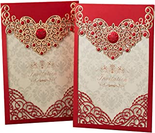 PONATIA 25PCS Laser Cut Invitations Cards Luxury Diamond Gloss Design Wedding Bridal Shower Invitation Baby Shower Engagement Birthday Invitation Graduation (Red)