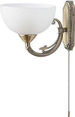 MW-Light 318020801 Applique Murale Classique en Métal couleur Laiton Abat-jour en Verre Brossé Interrupteur à Tirette pour Salon Chambre Couloir 1x60W E27