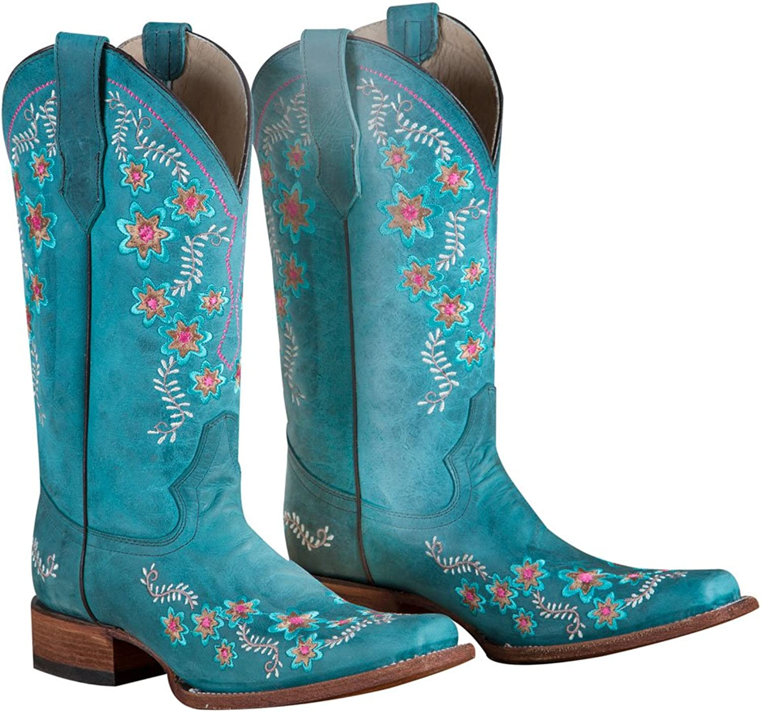 Circle G Turquoise Floral Embroidered Boots