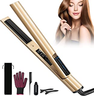 Professional Hair Straightener and Curler 2 in 1, BQYPOWER Tourmaline Ceramic Titanium Straightening Curved Iron Smart Digital Hair Straightener and Curls with Adjustable Temp for All Hair Types, Gold
