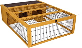 ROCKEVER Tortoise House Habitat Wooden Small Animal Hutch Enclosure Indoor/Outdoor