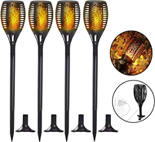 Solar Torch Lights, Waterproof Flickering Flame Solar Torches Dancing Flames Landscape USB Charging Decoration Lighting Dusk to Dawn Outdoor Security Path Light for Garden Patio Yard Driveway 4 Pack