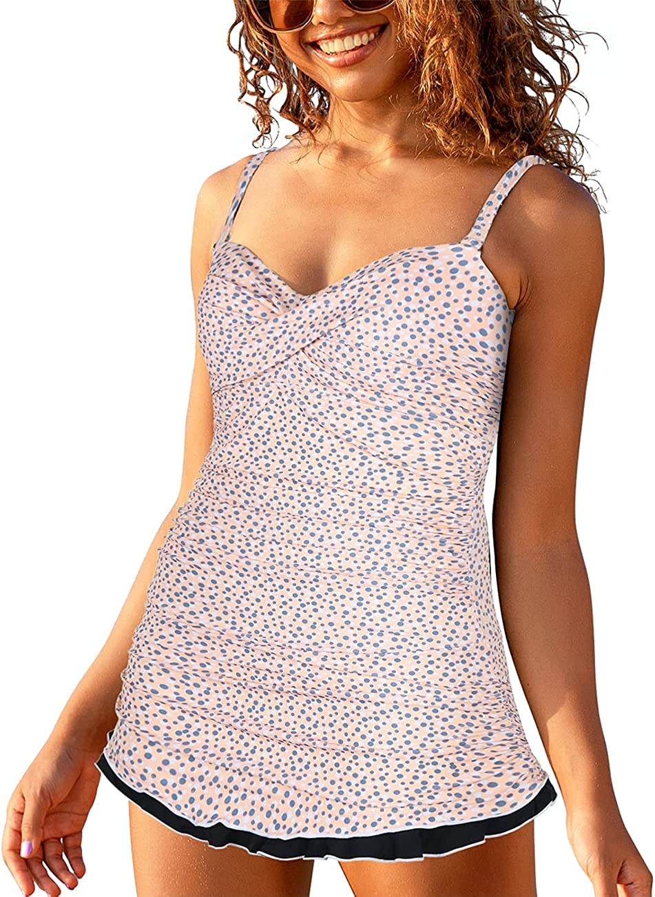 Ranking integrated 1st place coastal rose Women's One Piece Ruffle Jacksonville Mall Ruched Swimsuits Swimdress