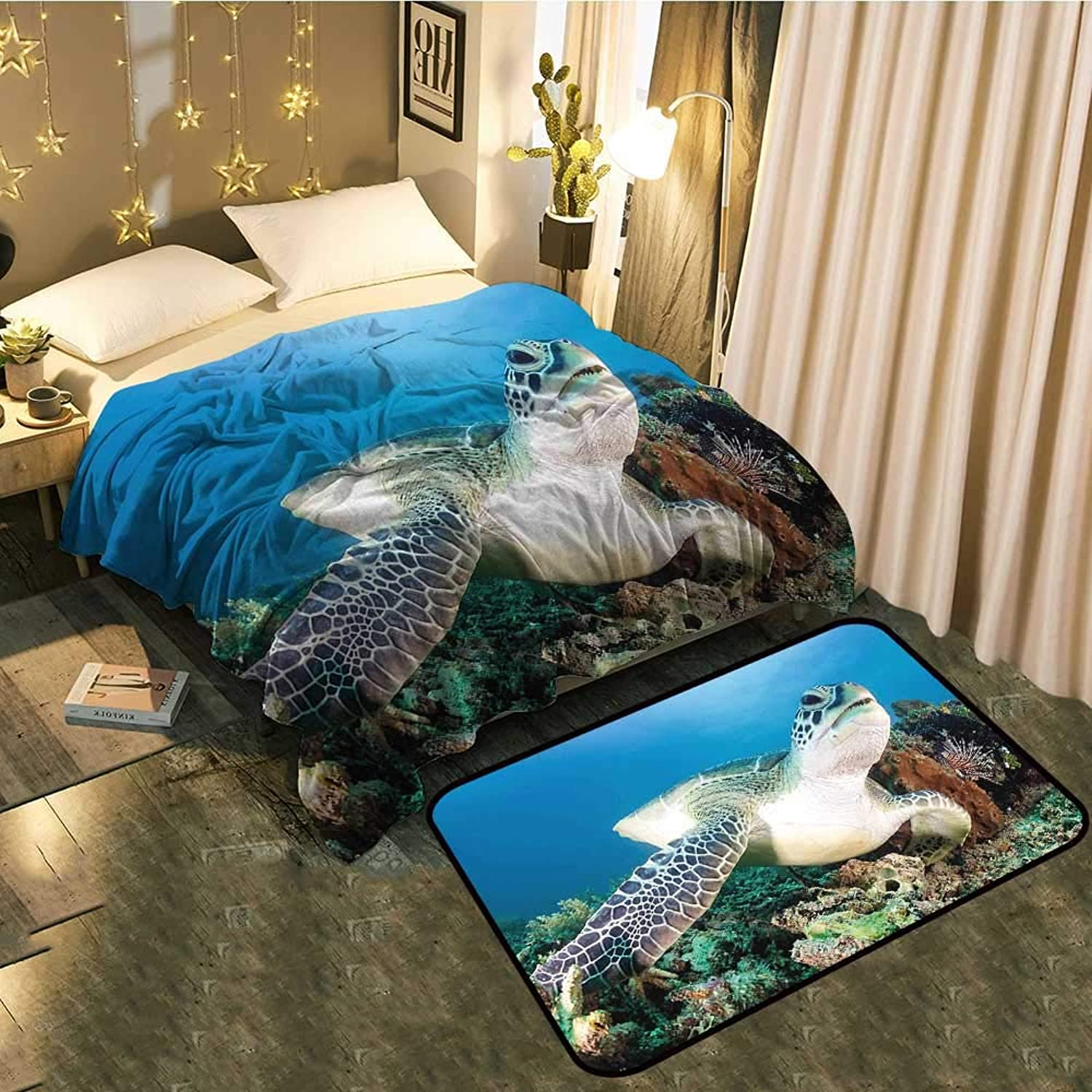 Bedside Blanket Doormat suitof Green Turtle and Lion Fish on Tropical Coral Reef Chelonia Snorkeling bluee Cozy and Durable Blanket 60 x70  Mat 35 x23