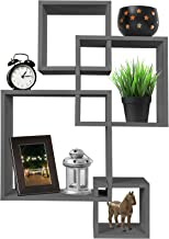 Greenco 4 Cube Intersecting Wall Mounted Floating Shelves Gray Finish