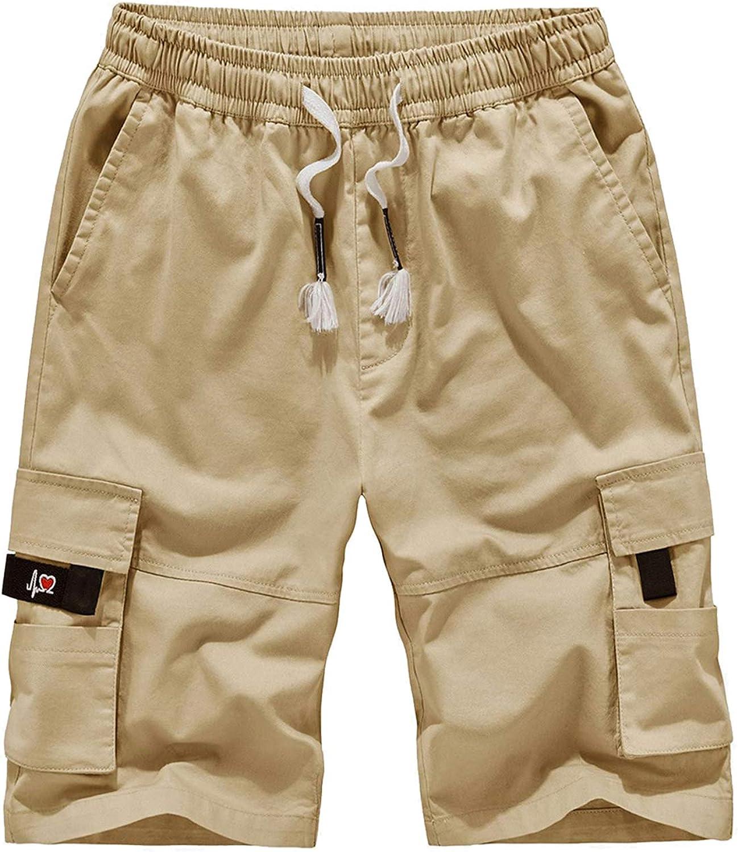 APTRO Men's Cargo Shorts Elastic Waistband Relaxed Fit Casual Work Shorts Lightweight Premium Cotton Shorts