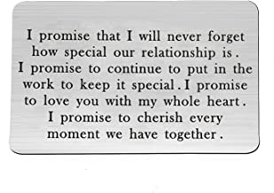 LQRI Engraved Wallet Insert Boyfriend Husband Gift I Promise That I Will Never Forget How Special Our Relationship Is Love Note Wallet Card Insert for Men
