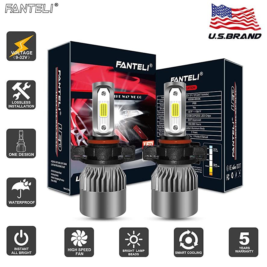 FANTELI 5202/5201/2504 10000K-12000K Deep Blue LED Headlight Bulbs All-in-One Conversion Fog Driving Lights Foglight Kit - 12000Lm PSX24W/5200/9009 Replacement Bulb Extremely Bright - 5 Years Warranty