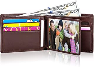 Lositto RFID Blocking Genuine Leather Bifold Wallet for Men with Zipper and Coin Pocket (Smooth Nappa Chocolate)