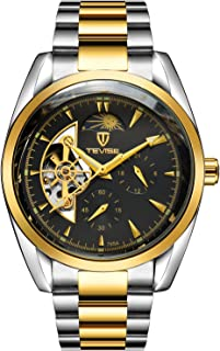 Tevise Casual Watch Analog Stainless Steel Band for Men, Gold, 795A-SGB