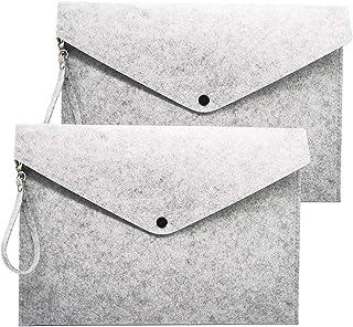 CHuangQi Felt File Folder with Lanyard, A4 Folder, Durable Briefcase, Document Bag, Paper File Folders, Portfolio Case, Le...