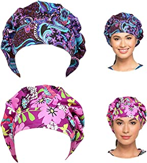 Surgical Scrub Caps Adjustable Bouffant Hats Elastic Head Covers with Sweatband for Medical Doctor Men Women 2 Packs
