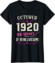 Womens October 1920 99 Years Of Being Awesome October Girl Gift T-Shirt