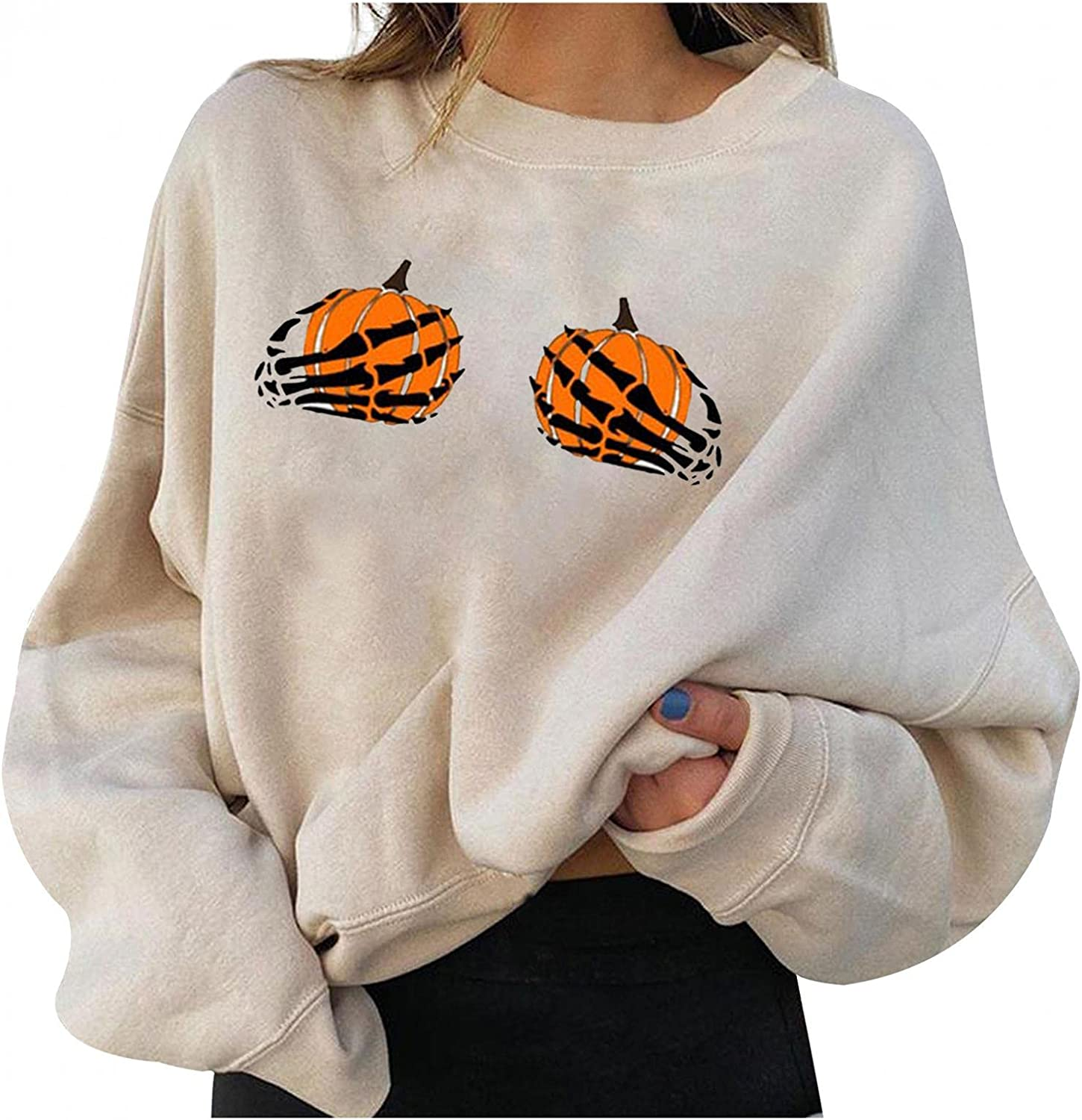 AODONG Halloween Sweatshirts for Women, Womens Plus Size Tops Pumpkin Skeleton Funny Printed Oversized Pullover Shirts