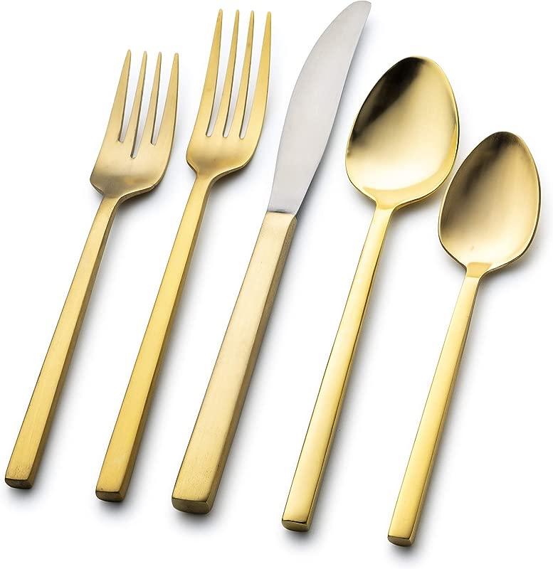 Nehdar Toco 40 Piece Serves 8 Premium Modern Stainless Steel Covered With 24 Karat Gold Flatware And Silverware Set Dishwasher Safe Cutlery