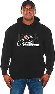 JH DESIGN GROUP Mens Chevy Corvette Hoodie C2 Series Logo Black Sweatshirt