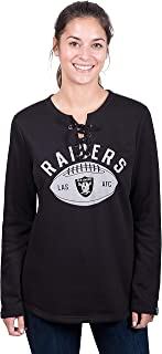 Icer Brands NFL Oakland Raiders Women's Fleece Sweatshirt Lace Long Sleeve Shirt, X-Large, Black