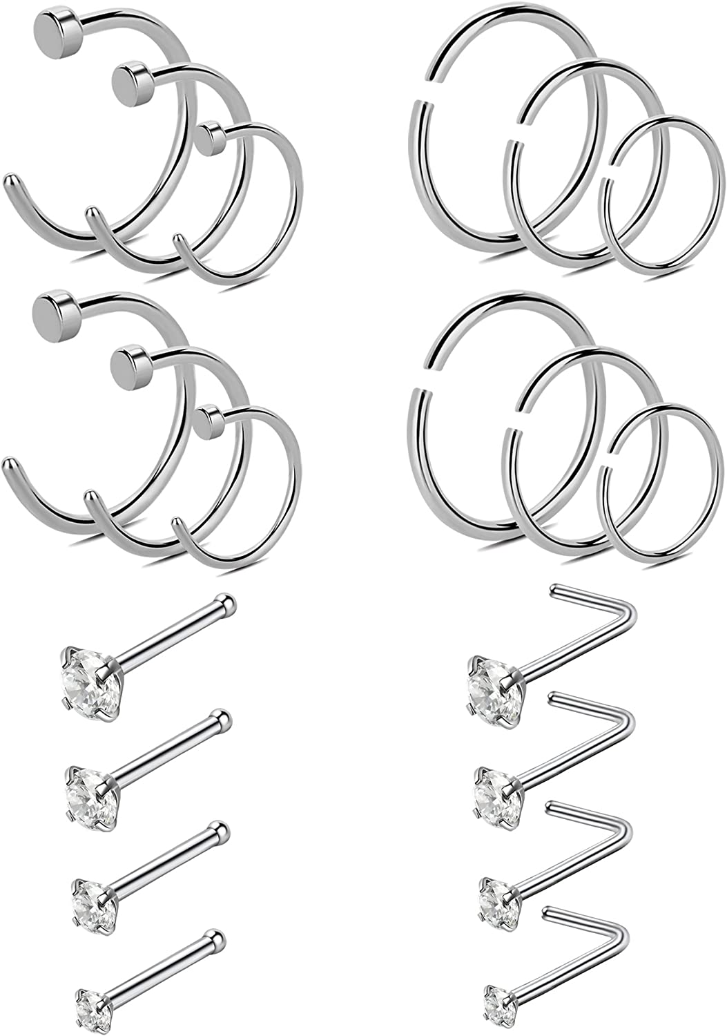 YOVORO 20-22G 20-30PCS 316L Stainless Steel Nose Rings Studs Cartilage Tragus Ear Piercing Body Jewelry